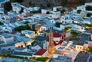 Dusk, Lindos, Rhodes Island, Dodecanese Islands, Greece