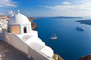 Church and cruise ship in Fira, Santorini, Cyclades Islands, Greece