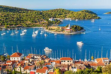 Vis town, Franciscan monastery and harbour, Vis Island, Croatia