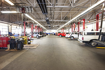 Rows of cars and trucks in auto repair shop