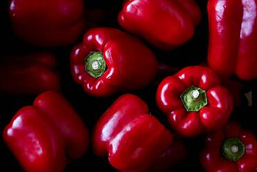 High angle close up of freshly picked red peppers, Oxfordshire, United Kingdom