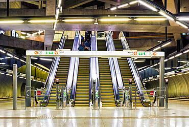 Budapest Metro, a row of escalators, exit.