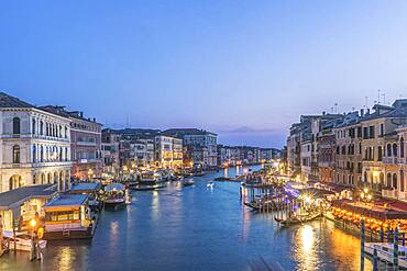 View at sunset, the Grand Canal and palazzos of Venice, UNESCO world heritage site.
