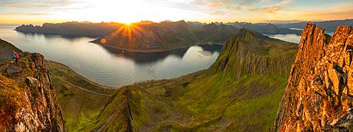 Sun over the mountains on Senja Island, Troms County, Senja Island, Lofoten Islands, Norway