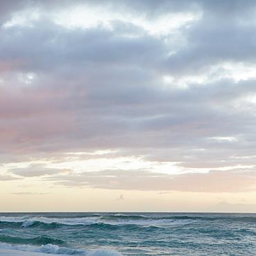 Waves and surf at dusk