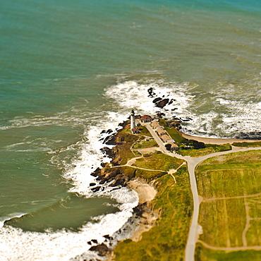 Lighthouse on a Rocky Coast, San Mateo, California, United States of America