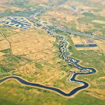 River Through Farmland, Sacramento, California, United States of America