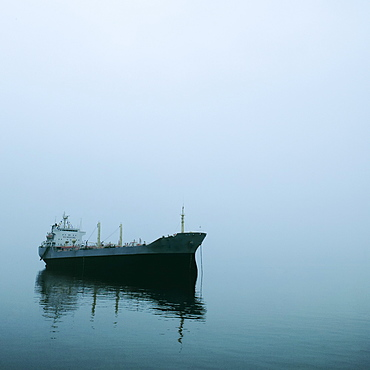 Cargo Ship in Fog, Halong Bay, Quang Ninh, Vietnam