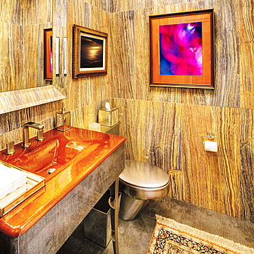 Bathroom Interior With a Wood Grain Decor, St Petersburg, Florida, United States