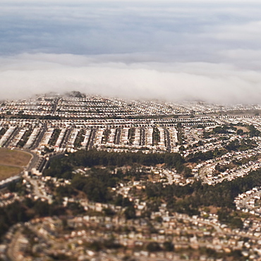 Suburbs with cloud cover