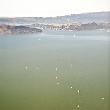 Aerial view of ocean and boats