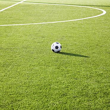 Soccer ball on a soccer field