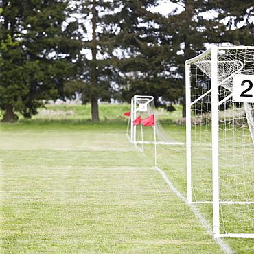 Soccer goal nets on soccer field