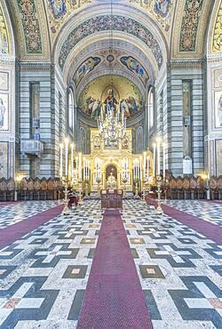 Interior view of the aisle of the Serbian Orthodox church Saint Spyridon Church, Trieste, Italy.