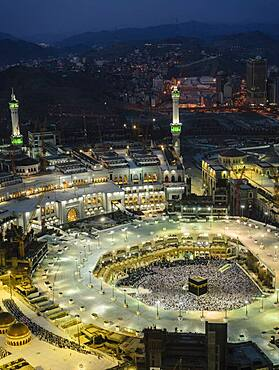 The Hajj annual Islamic pilgrimage to Mecca, Saudi Arabia. Aerial view.
