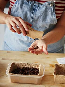 Woman pouring microgreen seeds from packet into hand at home