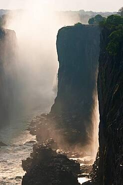 Victoria Falls, huge waterfalls of the Zambezi river flowing over sheer cliffs, Zambia
