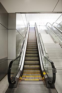 A set of moving steps, escalators.