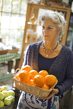 Organic Farmer at Work. A woman carrying a box of large oranges, Accord, New York, USA