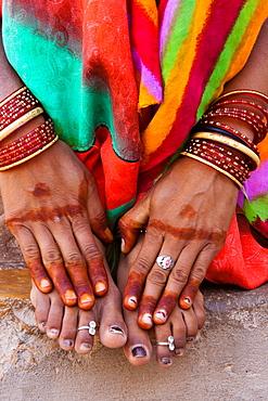 Henna hands, Rajasthan, India, Jaipur, Rajasthan, India