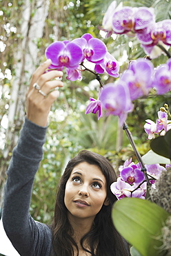 A young woman reaching up to admire an orchid growing in an indoor glasshouse in a botanical garden in New York City, West Kill, New York, USA