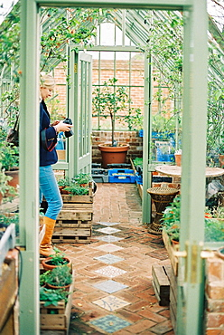 A woman in a conservatory, holding a camera, surrounded by plants, England