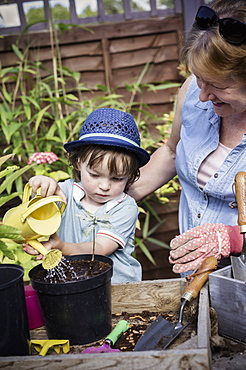 A woman and a young child water new seeds planted in a pot, England