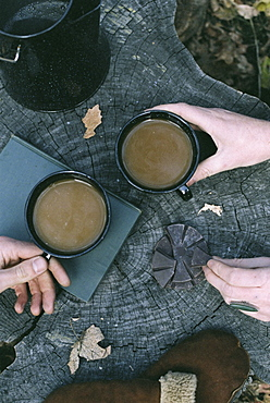 Couple having coffee in a forest, two mugs of coffee, a coffee pot and a pair of gloves on a tree trunk, Millcreek, Utah, United States of America