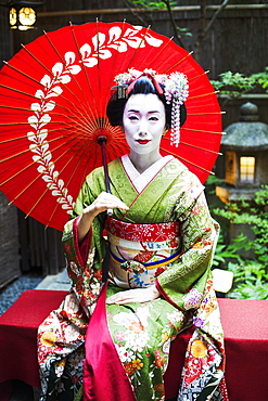 A woman dressed in the traditional geisha style, wearing a kimono and obi, with an elaborate hairstyle and floral hair clips, with white face makeup with bright red lips and dark eyes seated holding an umbrella, Japan