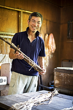 Japanese man standing in a traditional Washi workshop, holding a bunch of mulberry twigs, plant fibre ingredients and strips of fibre on a table, Kyushu, Japan