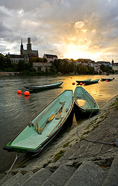 Boats in River, Basel, Switzerland