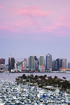 San Diego Skyline and Marina at Dusk, San Diego, California, United States of America