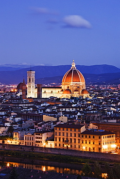 Skyline of Florence from the Piazza Michelangelo at Dawn, Florence, Tuscany, Italy