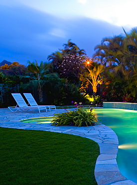 Tropical Backyard Pool at Night, Hawaii, United States of America