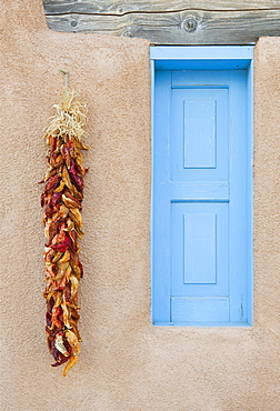 Blue Window with Chili Peppers, Ranchos de Taos, New Mexico, United States of America