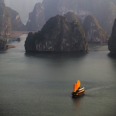 Chinese Boat With Orange Sails, Halong Bay, Quang Ninh, Vietnam