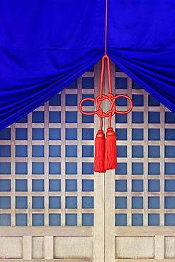 Fabric Hanging In Front Of Lattice Door, Ise, Japan