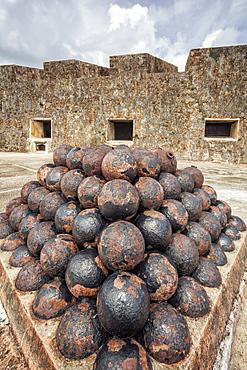 Stack of cannon balls on castle roof, Castillo San Cristobal, San Juan, Puerto Rico, San Juan, Puerto Rico, Puerto Rico