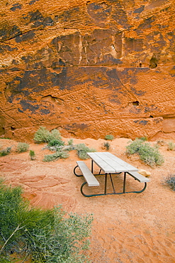 Picnic table in Valley of Fire State Park, Nevada, United States, None, Nevada, USA