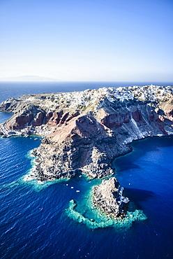 Aerial view of city built on rocky coastline, Oia, Egeo, Greece, Oia, Egeo, Greece
