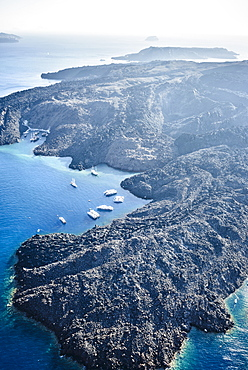 Aerial view of rocky rural coastline, Santorini, Egeo, Greece, Santorini, Egeo, Greece