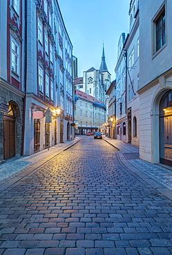Cobblestone street at dawn, Prague, Czech Republic, Prague, Central Bohemia, Czech Republic