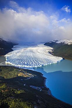 Aerial view of glacier in rural landscape, El Calafate, Patagonia, Argentina