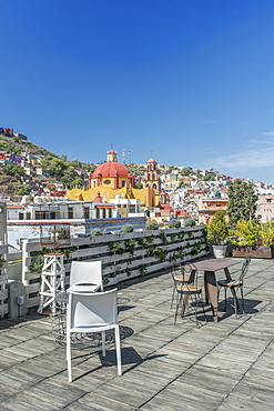 Rooftop cafe with cityscape view, Guanajuato, Guanajuato, Mexico