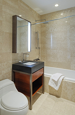 Sink, toilet and bath of modern bathroom