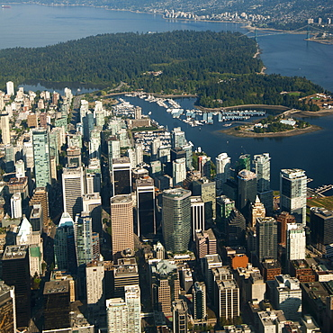 Aerial view of river and Vancouver cityscape, British Columbia, Canada