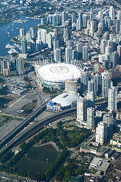 Aerial view of stadium in Vancouver cityscape, British Columbia, Canada