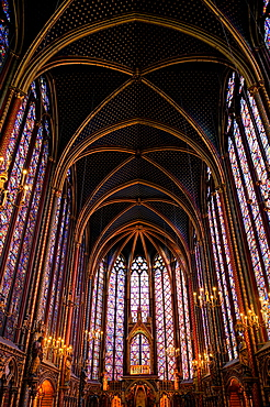 Arched roof of ornate St Chappelle cathedral, Paris, Ile-de-France, France