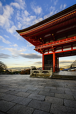 Entrance to Kiyomizu Dera under blue sky, Kyoto, Japan, Kyoto, Japan