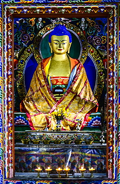 Buddha statue in shrine, Bhutan, Kingdom of Bhutan